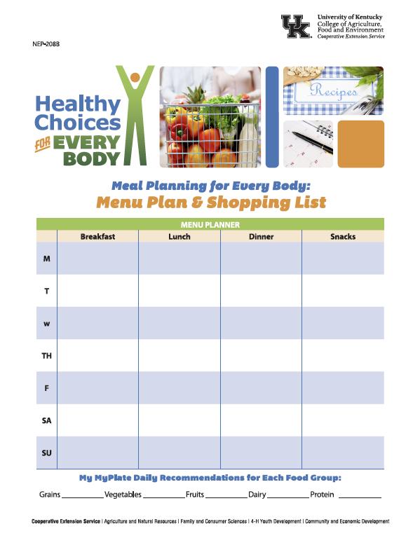 Image of menu planner