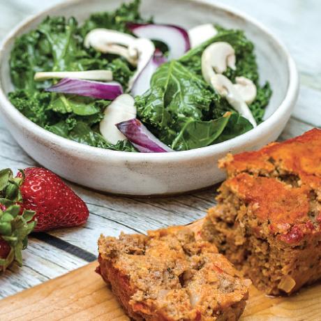 Venison meatloaf with salad